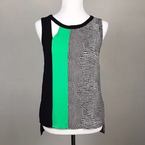 BCBG Maxazria Sleeveless Print Cut Out Elicia Top